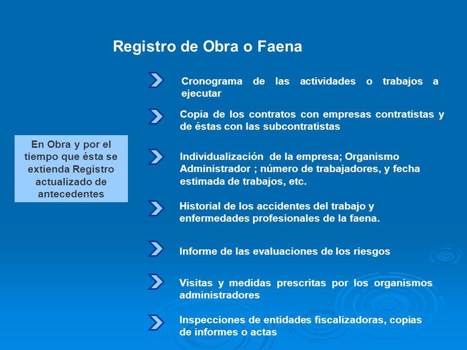 En Obra y por el tiempo que ésta se extienda Registro actualizado de antecedentes Registro de Obra o Faena Cronograma de las actividades o trabajos a