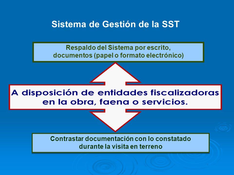 Sistema de Gestión de la SST Contrastar documentación con lo constatado durante la visita en terreno Contrastar documentación con lo constatado durant