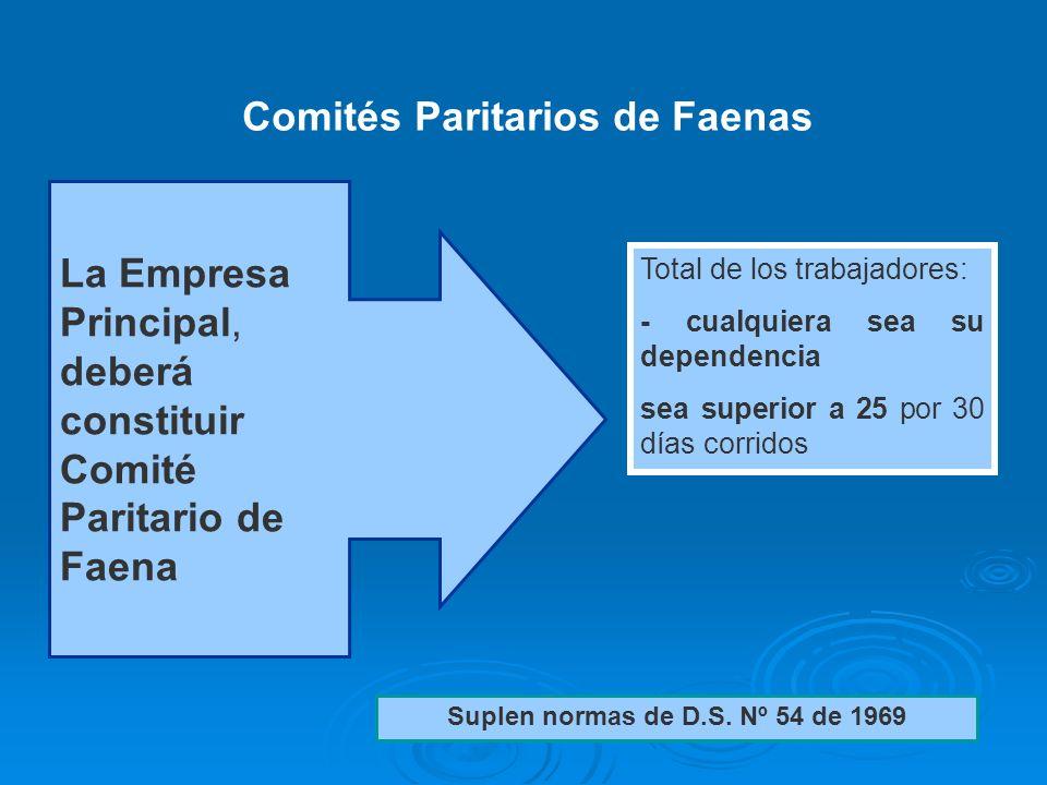 30 La Empresa Principal, deberá constituir Comité Paritario de Faena Total de los trabajadores: - cualquiera sea su dependencia sea superior a 25 por