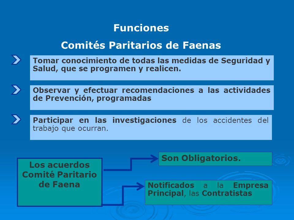 Tomar conocimiento de todas las medidas de Seguridad y Salud, que se programen y realicen. Funciones Comités Paritarios de Faenas 31 Los acuerdos Comi