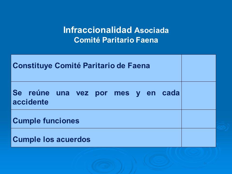 Constituye Comité Paritario de Faena Se reúne una vez por mes y en cada accidente Cumple funciones Cumple los acuerdos 34 Infraccionalidad Asociada Co