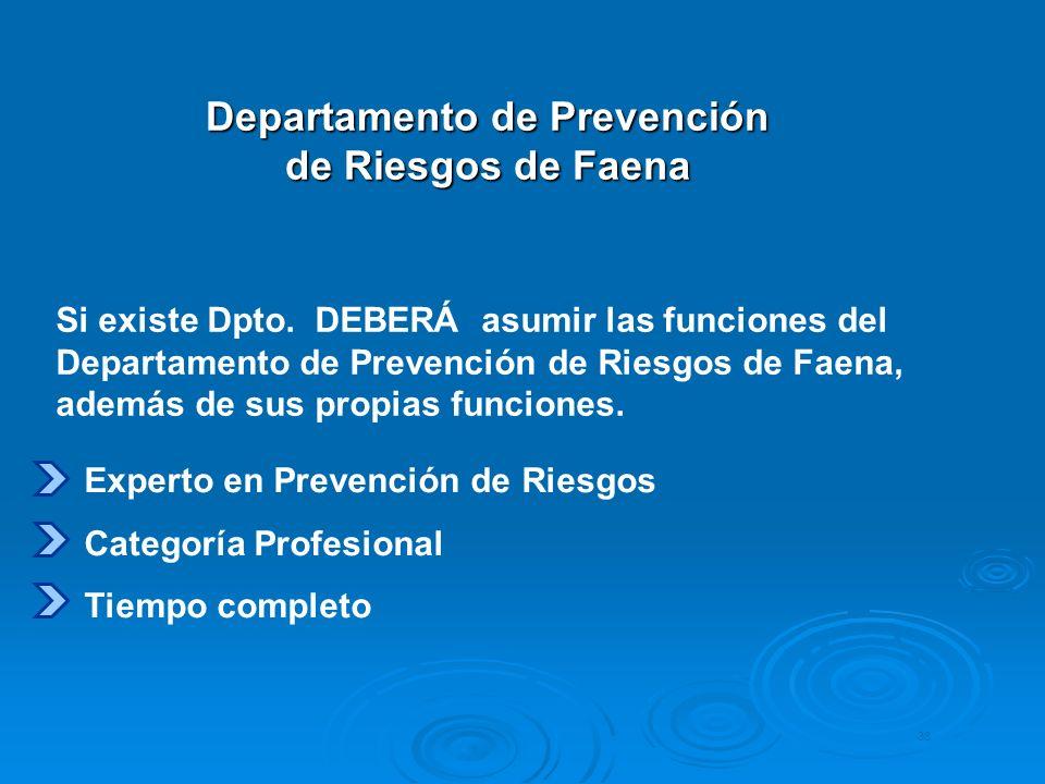 Departamento de Prevención de Riesgos de Faena 38 Experto en Prevención de Riesgos Categoría Profesional Tiempo completo Si existe Dpto. DEBERÁ asumir
