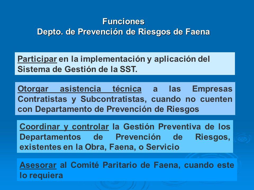 Participar en la implementación y aplicación del Sistema de Gestión de la SST. Otorgar asistencia técnica a las Empresas Contratistas y Subcontratista
