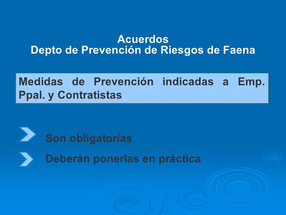 Medidas de Prevención indicadas a Emp. Ppal. y Contratistas Acuerdos Depto de Prevención de Riesgos de Faena 41 Son obligatorias Deberán ponerlas en p