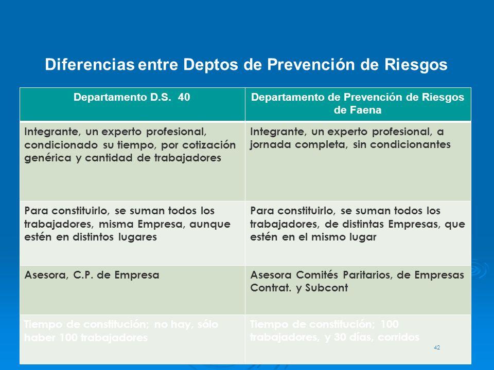 .. Departamento D.S. 40Departamento de Prevención de Riesgos de Faena Integrante, un experto profesional, condicionado su tiempo, por cotización genér