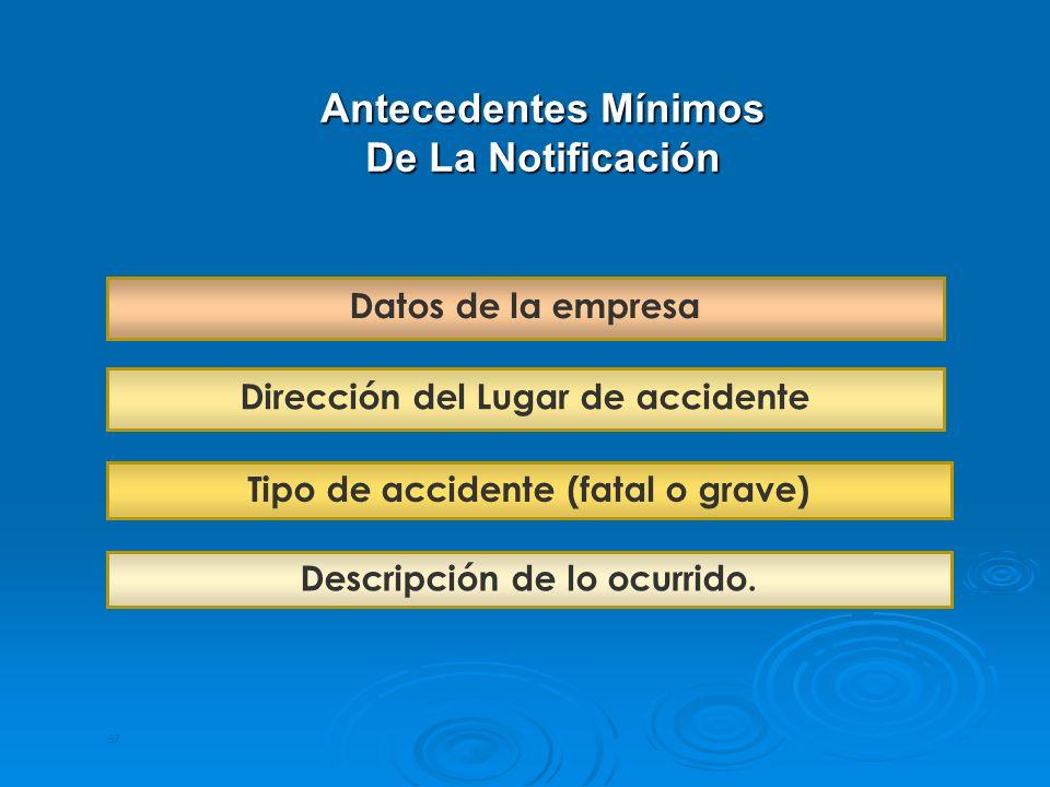 57 Antecedentes Mínimos De La Notificación Dirección del Lugar de accidente Datos de la empresa Tipo de accidente (fatal o grave) Descripción de lo oc