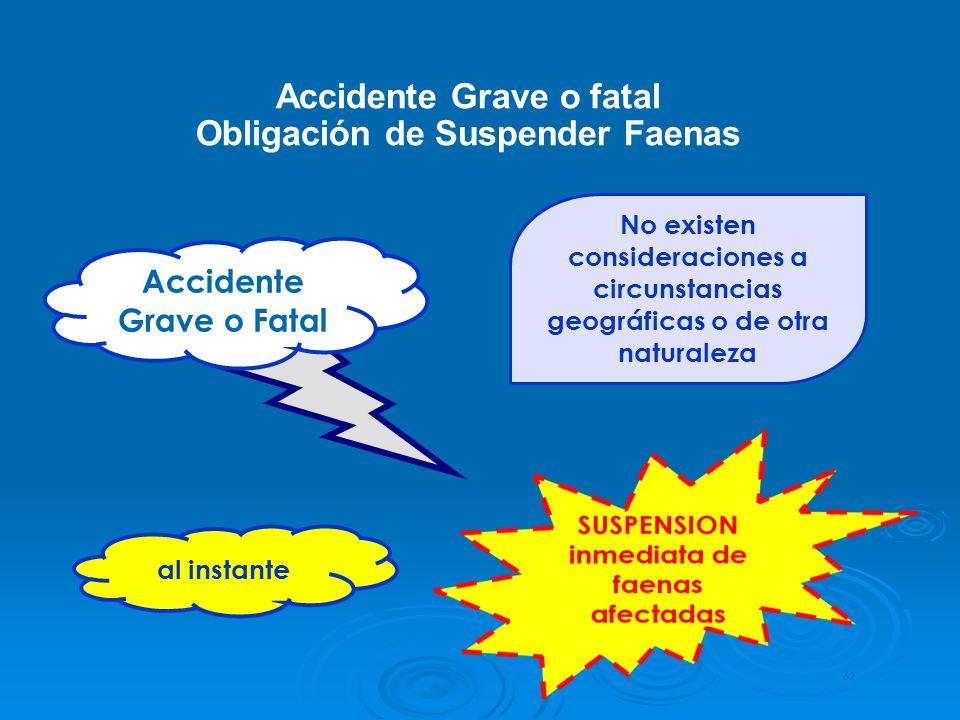Accidente Grave o fatal Obligación de Suspender Faenas 62 Accidente Grave o Fatal No existen consideraciones a circunstancias geográficas o de otra na