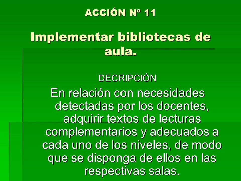 ACCIÓN Nº 11 Implementar bibliotecas de aula. DECRIPCIÓN En relación con necesidades detectadas por los docentes, adquirir textos de lecturas compleme