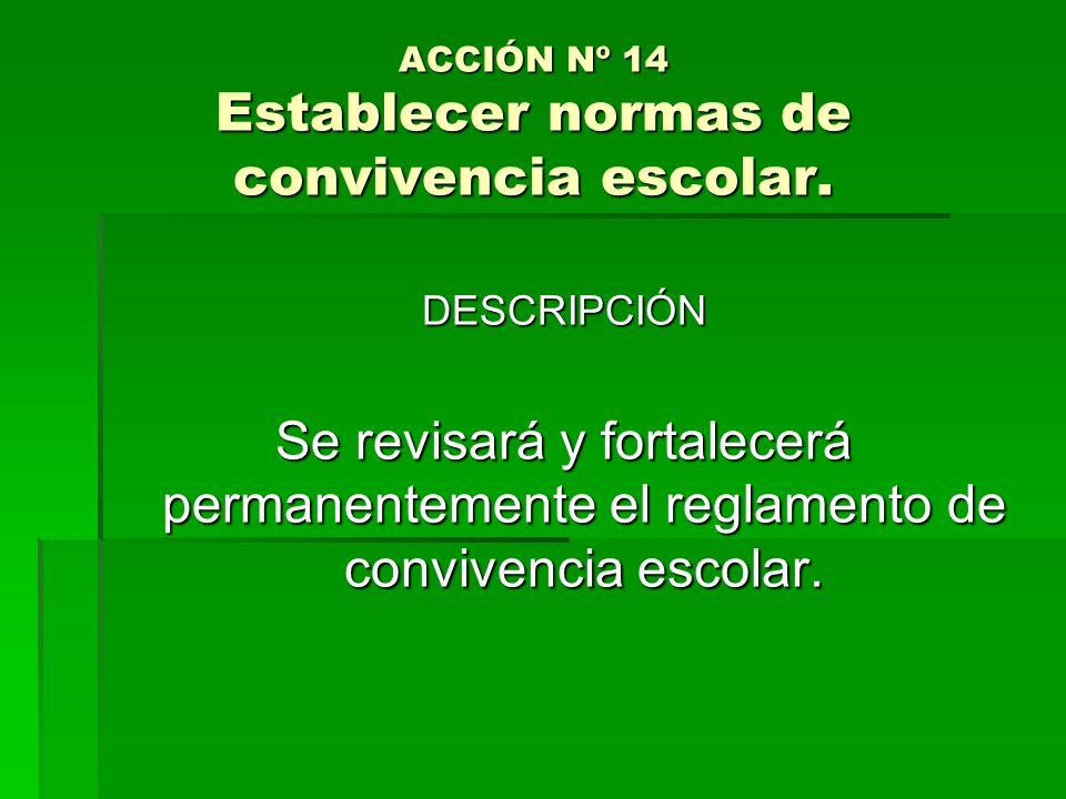 ACCIÓN Nº 14 Establecer normas de convivencia escolar. DESCRIPCIÓN Se revisará y fortalecerá permanentemente el reglamento de convivencia escolar.