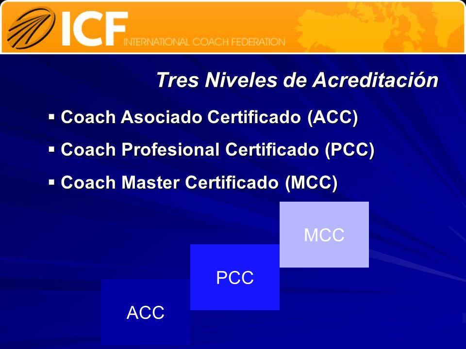 Tres Niveles de Acreditación Coach Asociado Certificado (ACC) Coach Asociado Certificado (ACC) Coach Profesional Certificado (PCC) Coach Profesional C