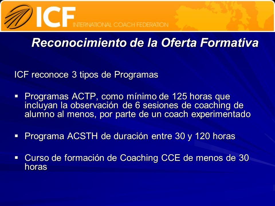 Reconocimiento de la Oferta Formativa ICF reconoce 3 tipos de Programas Programas ACTP, como mínimo de 125 horas que incluyan la observación de 6 sesi