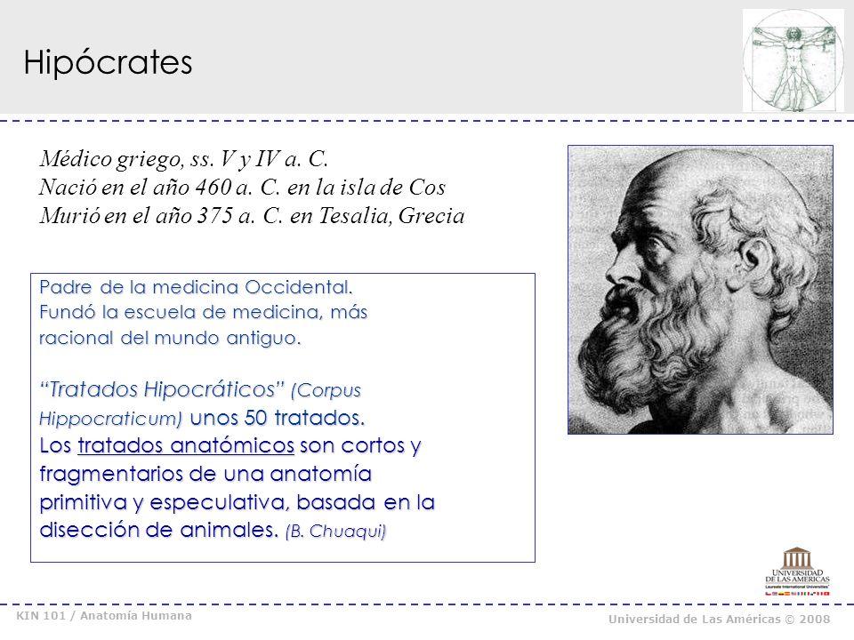 KIN 101 / Anatomía Humana Universidad de Las Américas © 2008 Claudio Galeno Médico y Filósofo Griego, s.