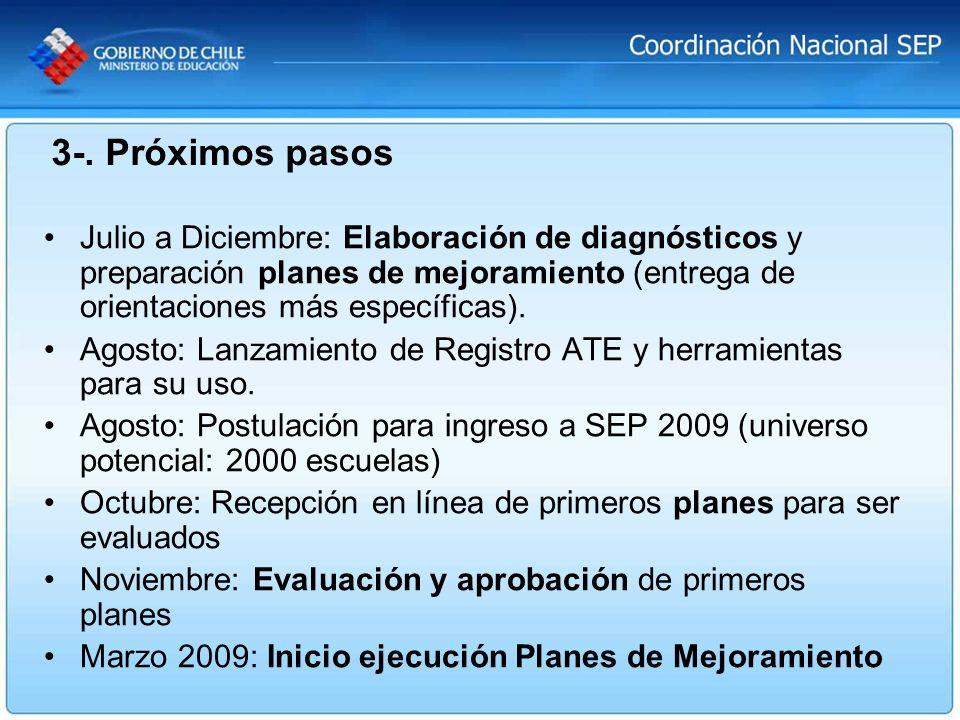 Julio a Diciembre: Elaboración de diagnósticos y preparación planes de mejoramiento (entrega de orientaciones más específicas). Agosto: Lanzamiento de
