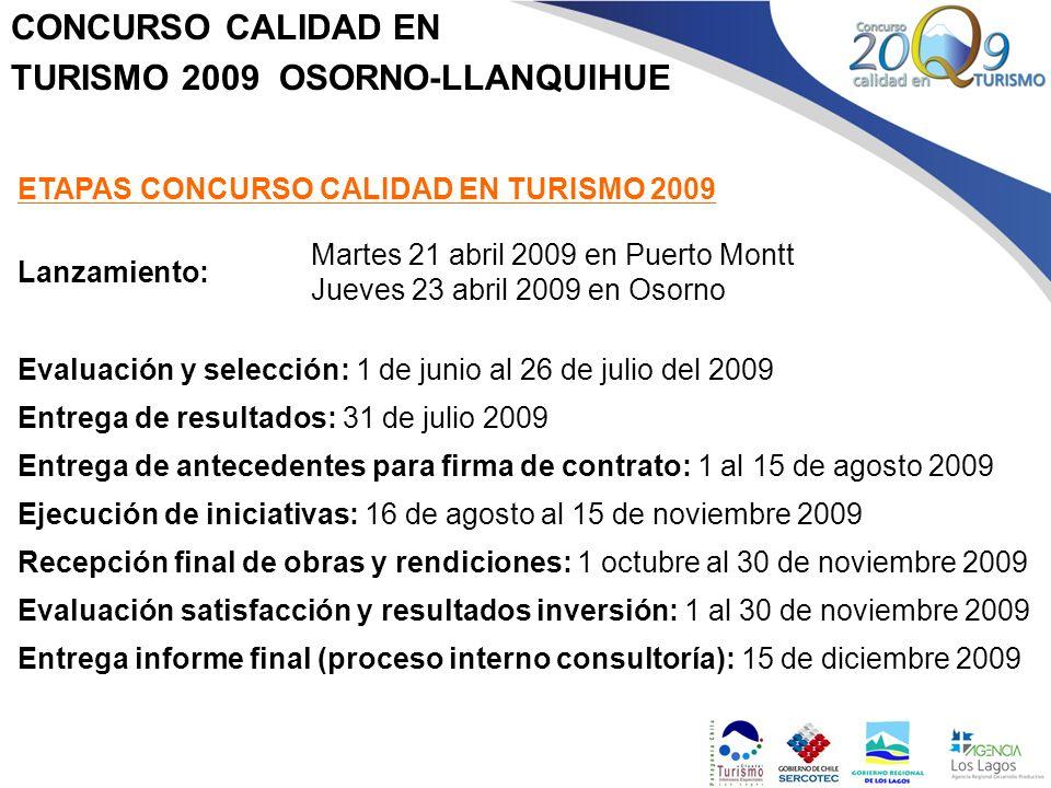 CONCURSO CALIDAD EN TURISMO 2009 OSORNO-LLANQUIHUE ETAPAS CONCURSO CALIDAD EN TURISMO 2009 Lanzamiento: Martes 21 abril 2009 en Puerto Montt Jueves 23
