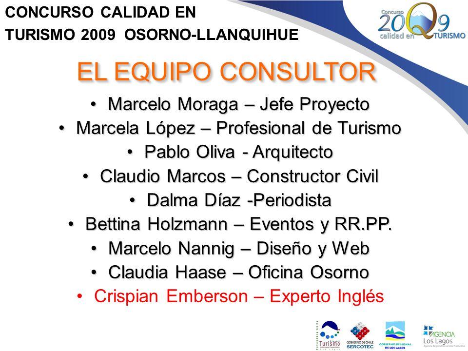 CONCURSO CALIDAD EN TURISMO 2009 OSORNO-LLANQUIHUE EL EQUIPO CONSULTOR Marcelo Moraga – Jefe ProyectoMarcelo Moraga – Jefe Proyecto Marcela López – Pr