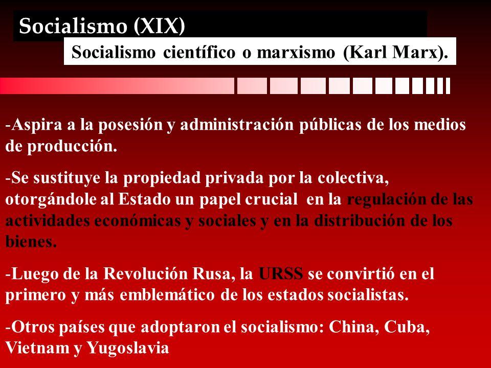 Socialismo (XIX) Socialismo científico o marxismo (Karl Marx). -Aspira a la posesión y administración públicas de los medios de producción. -Se sustit