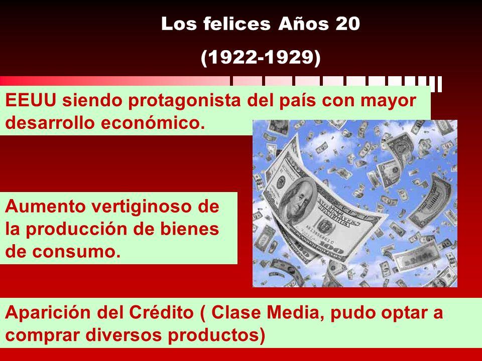 Los felices Años 20 (1922-1929) EEUU siendo protagonista del país con mayor desarrollo económico. Aumento vertiginoso de la producción de bienes de co