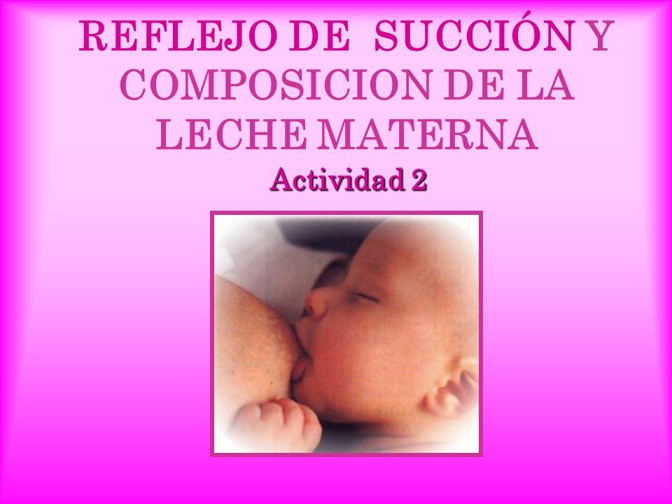 REFLEJO DE SUCCIÓN Y COMPOSICION DE LA LECHE MATERNA Actividad 2