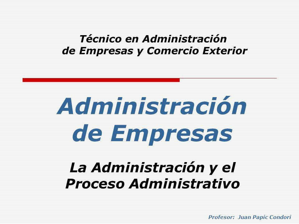 Administración de Empresas Técnico en Administración de Empresas y Comercio Exterior La Administración y el Proceso Administrativo Profesor: Juan Papi