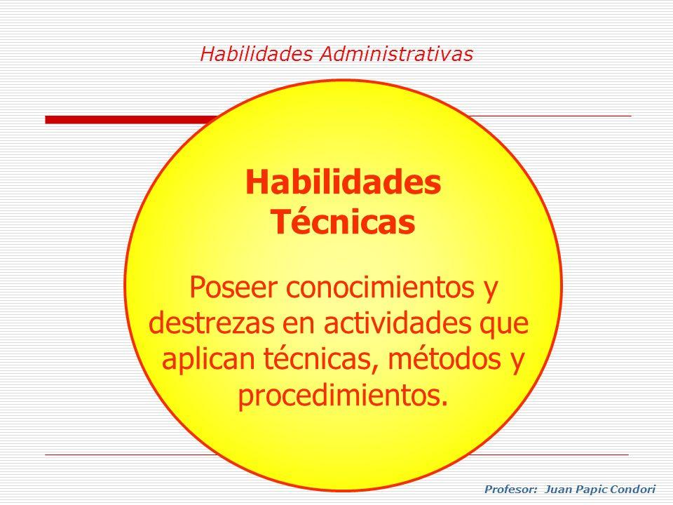Habilidades Administrativas Profesor: Juan Papic Condori Habilidades Técnicas Poseer conocimientos y destrezas en actividades que aplican técnicas, mé
