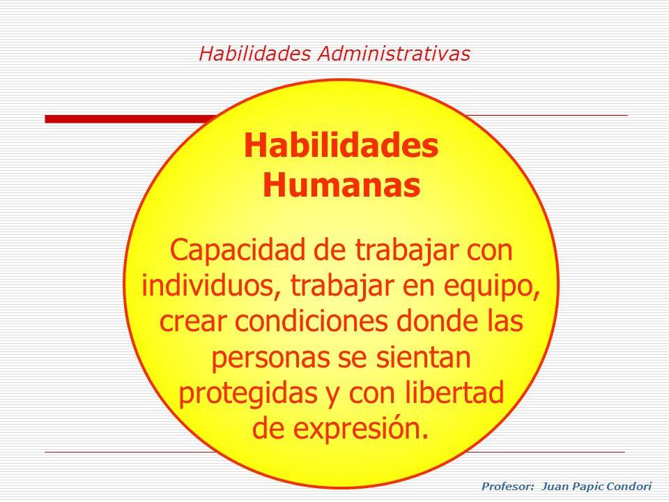 Habilidades Administrativas Profesor: Juan Papic Condori Habilidades Humanas Capacidad de trabajar con individuos, trabajar en equipo, crear condicion