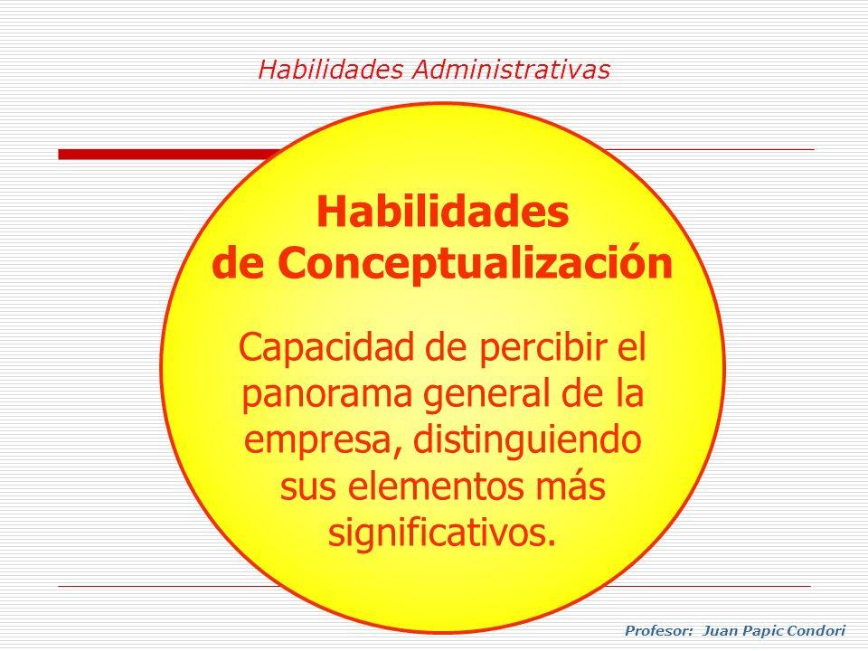 Habilidades Administrativas Profesor: Juan Papic Condori Habilidades de Conceptualización Capacidad de percibir el panorama general de la empresa, dis