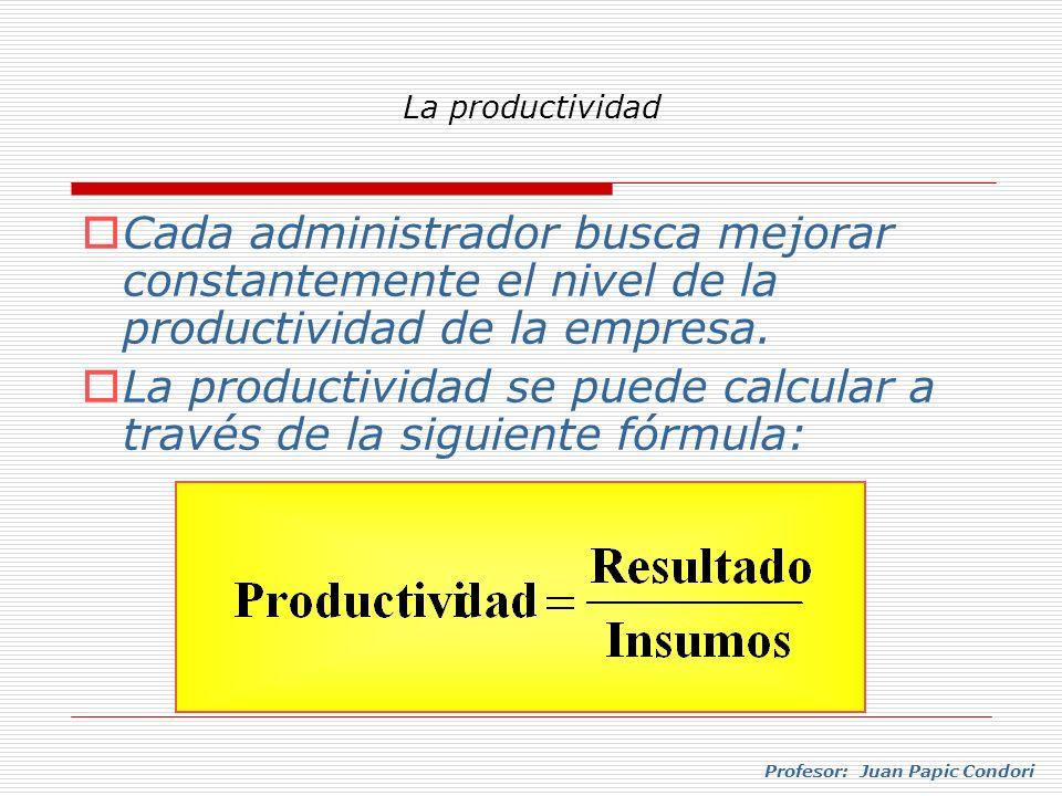 Profesor: Juan Papic Condori Cada administrador busca mejorar constantemente el nivel de la productividad de la empresa. La productividad se puede cal
