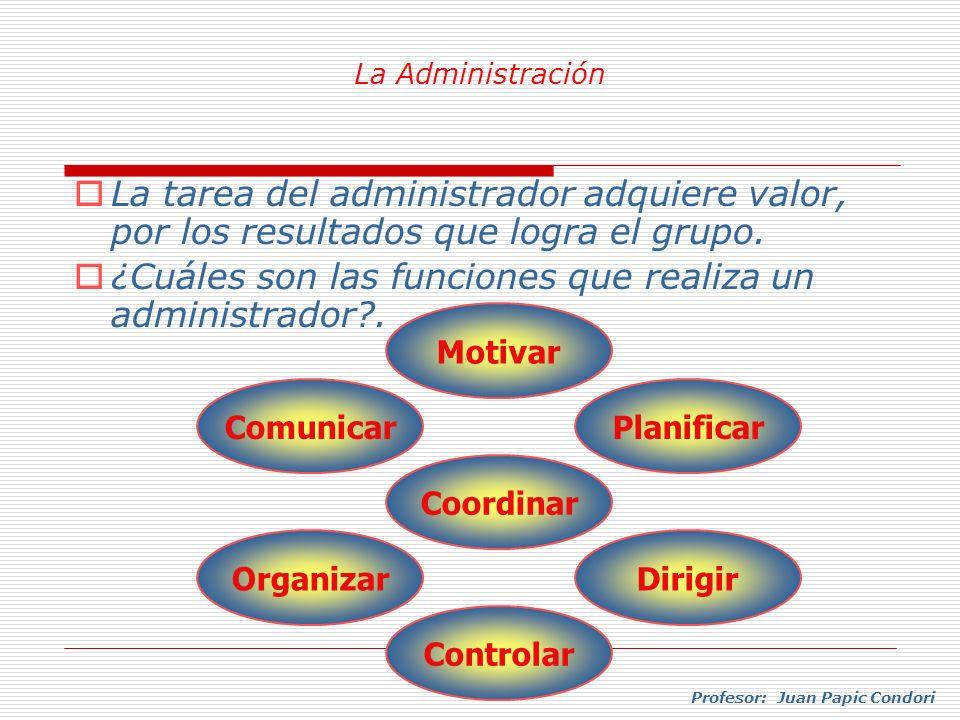Profesor: Juan Papic Condori La tarea del administrador adquiere valor, por los resultados que logra el grupo. ¿Cuáles son las funciones que realiza u
