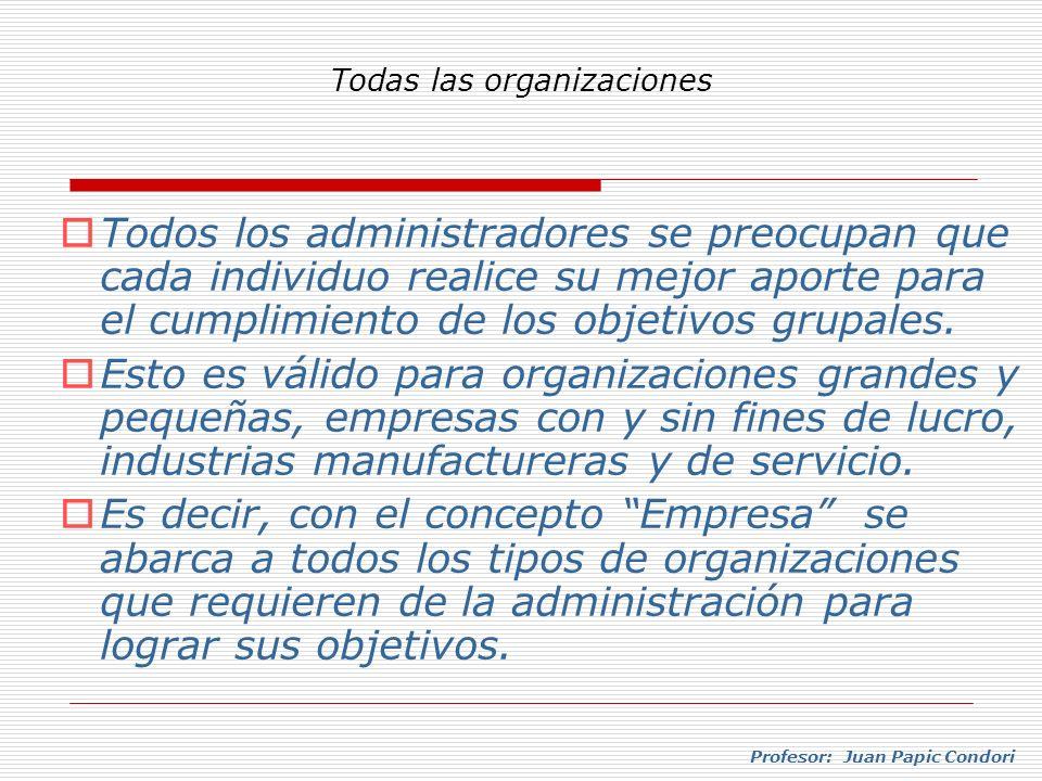 Profesor: Juan Papic Condori Todos los administradores se preocupan que cada individuo realice su mejor aporte para el cumplimiento de los objetivos g