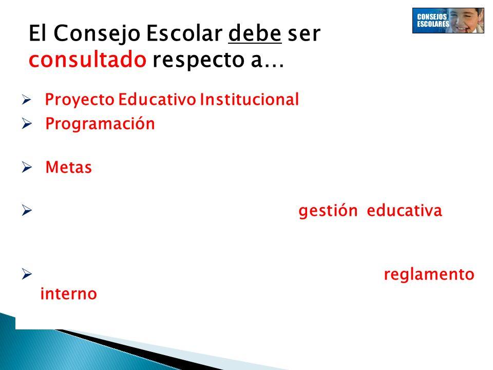 El Consejo Escolar debe ser consultado respecto a… Proyecto Educativo Institucional (PEI). Programación anual y las actividades extracurriculares. Met