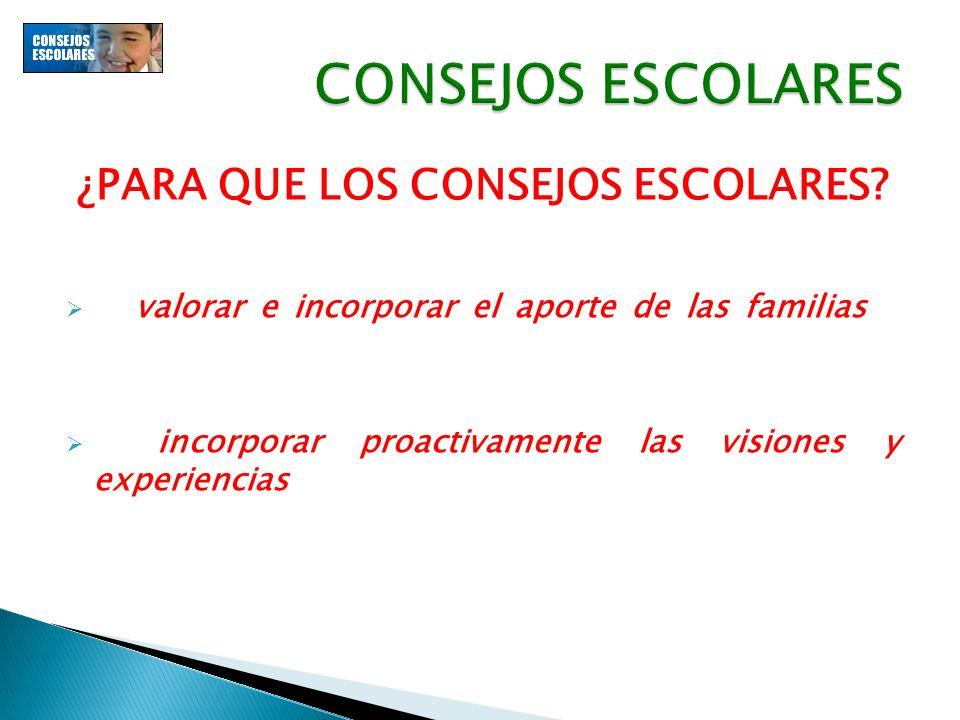 ¿PARA QUE LOS CONSEJOS ESCOLARES? El valorar e incorporar el aporte de las familias a los procesos formativos de sus hijos, contribuye al mejoramiento