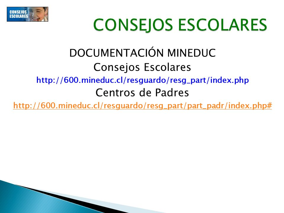 DOCUMENTACIÓN MINEDUC Consejos Escolares http://600.mineduc.cl/resguardo/resg_part/index.php Centros de Padres http://600.mineduc.cl/resguardo/resg_pa