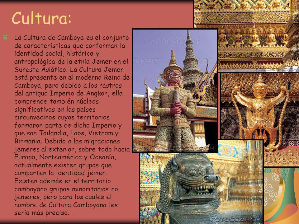 Cultura: La Cultura de Camboya es el conjunto de características que conforman la identidad social, histórica y antropológica de la etnia Jemer en el