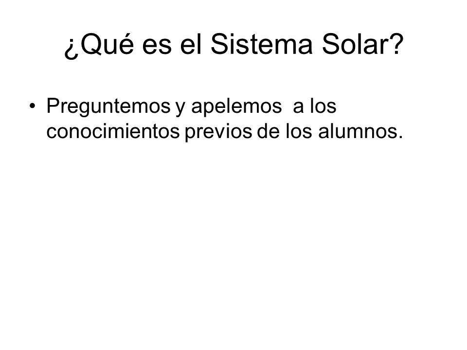 ¿Qué es el Sistema Solar? Preguntemos y apelemos a los conocimientos previos de los alumnos.