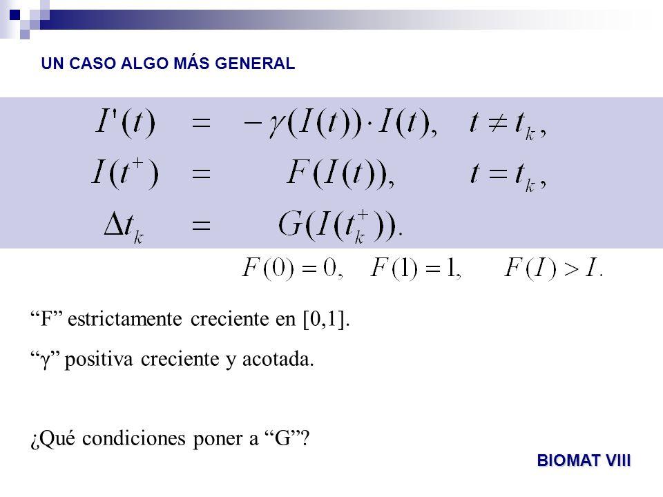 UN CASO ALGO MÁS GENERAL F estrictamente creciente en [0,1]. γ positiva creciente y acotada. ¿Qué condiciones poner a G? BIOMAT VIII