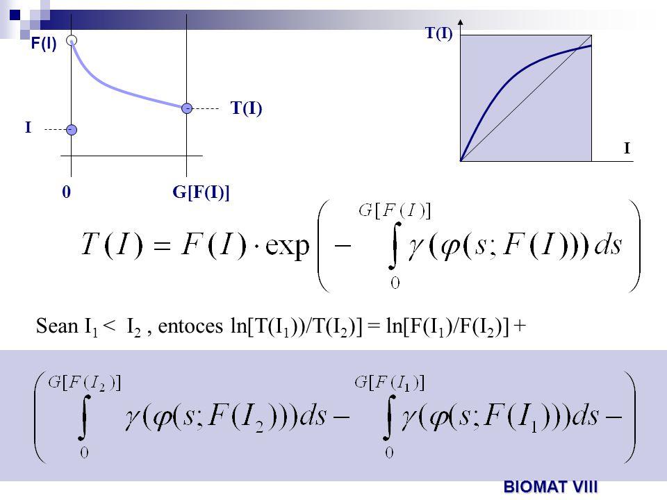 Sean I 1 < I 2, entoces ln[T(I 1 ))/T(I 2 )] = ln[F(I 1 )/F(I 2 )] + 0G[F(I)] T(I) I F(I) I T(I) BIOMAT VIII