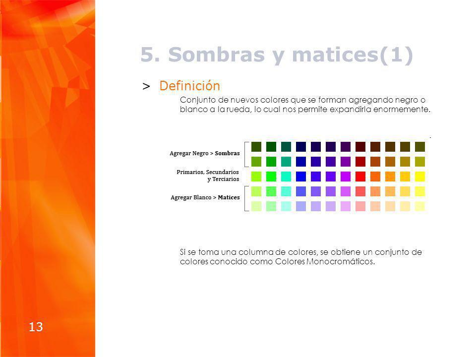 5. Sombras y matices(1) >Definición Conjunto de nuevos colores que se forman agregando negro o blanco a la rueda, lo cual nos permite expandirla enorm