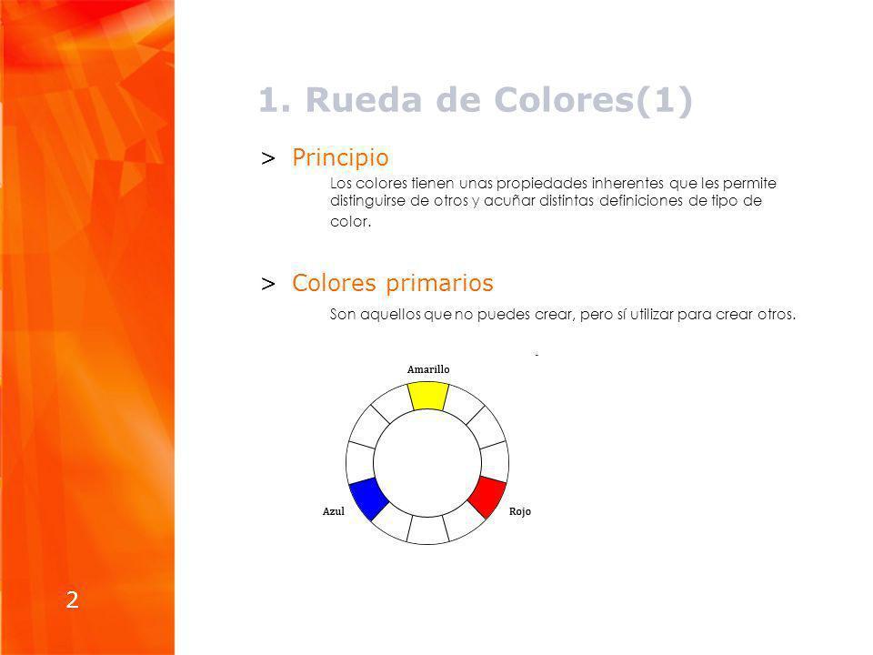 1. Rueda de Colores(1) >Principio Los colores tienen unas propiedades inherentes que les permite distinguirse de otros y acuñar distintas definiciones