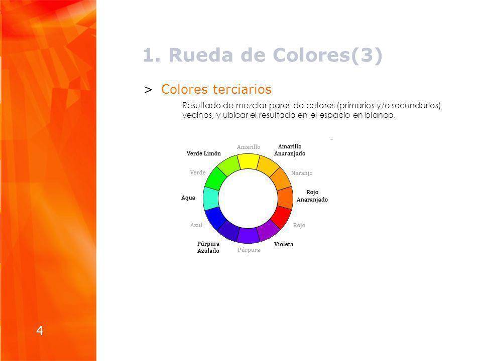 1. Rueda de Colores(3) >Colores terciarios Resultado de mezclar pares de colores (primarios y/o secundarios) vecinos, y ubicar el resultado en el espa