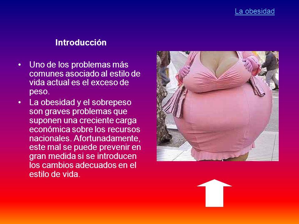 Introducción Uno de los problemas más comunes asociado al estilo de vida actual es el exceso de peso. La obesidad y el sobrepeso son graves problemas