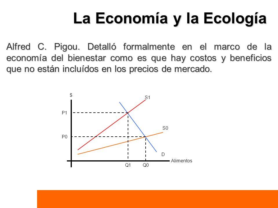 La Economía y la Ecología Alfred C. Pigou. Detalló formalmente en el marco de la economía del bienestar como es que hay costos y beneficios que no est