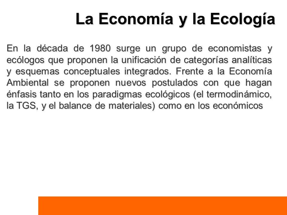 La Economía y la Ecología En la década de 1980 surge un grupo de economistas y ecólogos que proponen la unificación de categorías analíticas y esquema