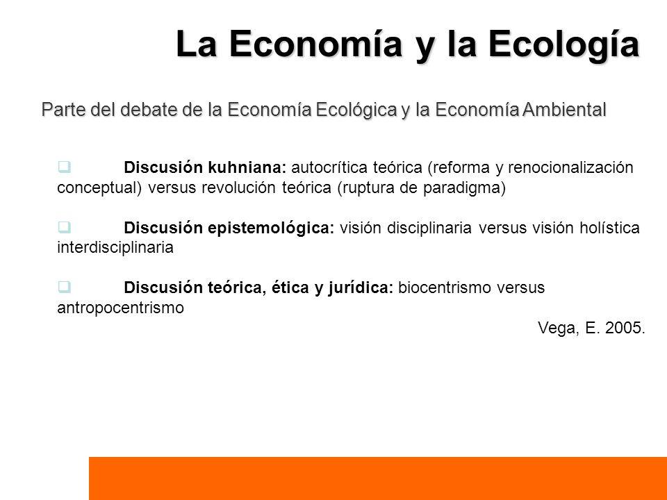 La Economía y la Ecología Parte del debate de la Economía Ecológica y la Economía Ambiental Discusión kuhniana: autocrítica teórica (reforma y renocio