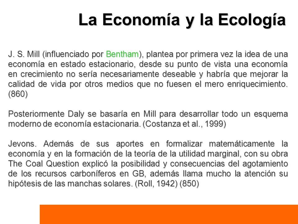La Economía y la Ecología J. S. Mill (influenciado por Bentham), plantea por primera vez la idea de una economía en estado estacionario, desde su punt