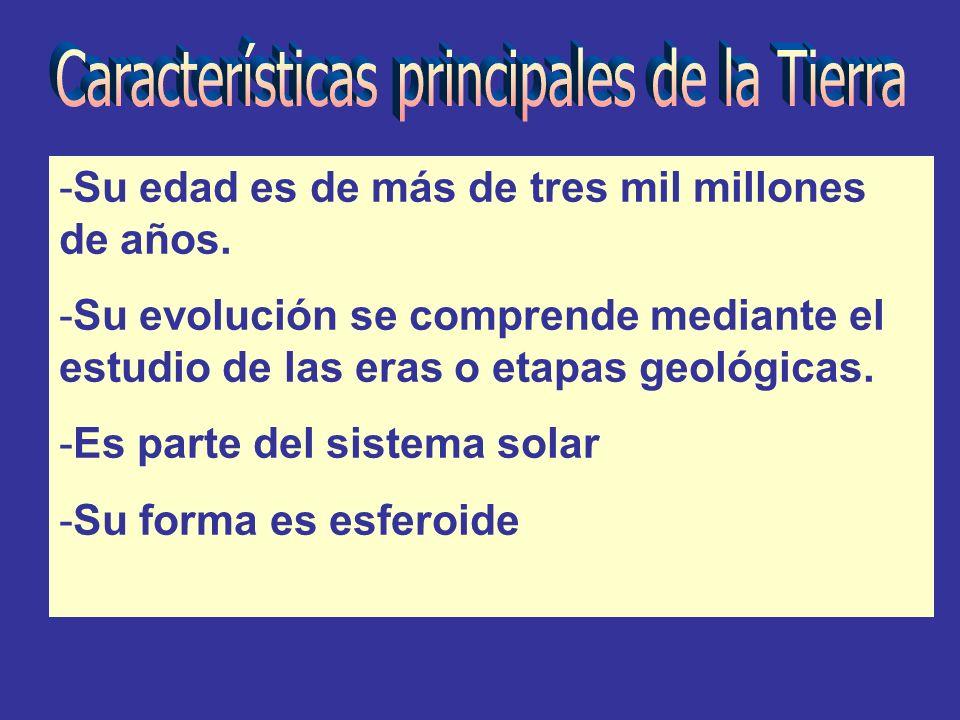 -Su edad es de más de tres mil millones de años. -Su evolución se comprende mediante el estudio de las eras o etapas geológicas. -Es parte del sistema