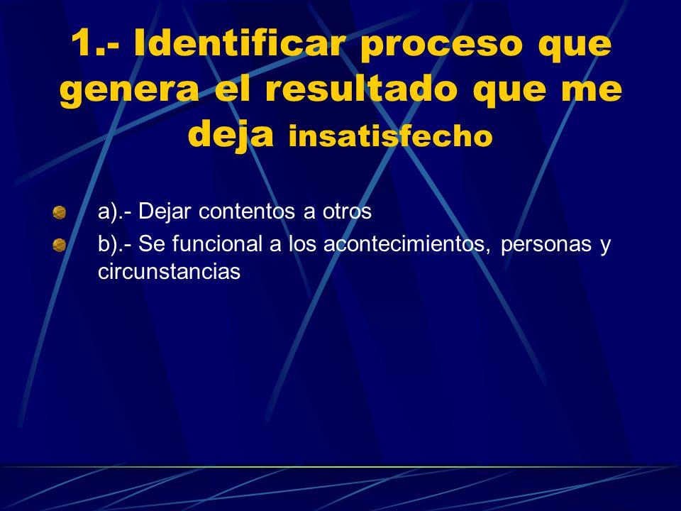 1.- Identificar proceso que genera el resultado que me deja insatisfecho a).- Dejar contentos a otros b).- Se funcional a los acontecimientos, persona