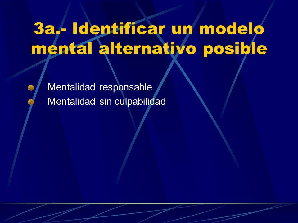 3a.- Identificar un modelo mental alternativo posible Mentalidad responsable Mentalidad sin culpabilidad