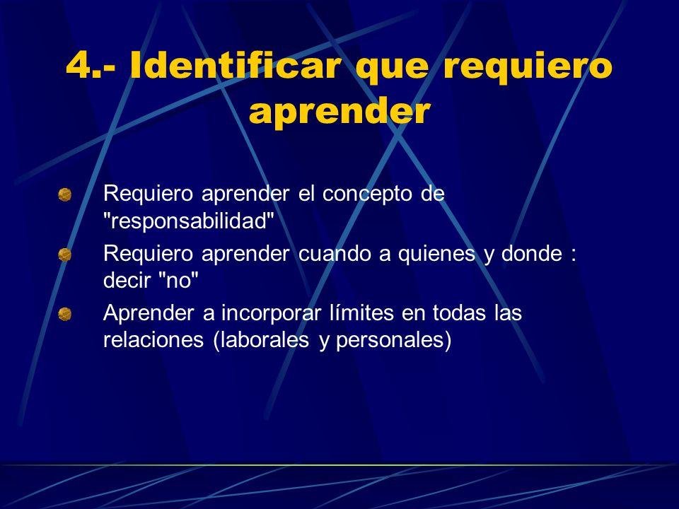 4.- Identificar que requiero aprender Requiero aprender el concepto de