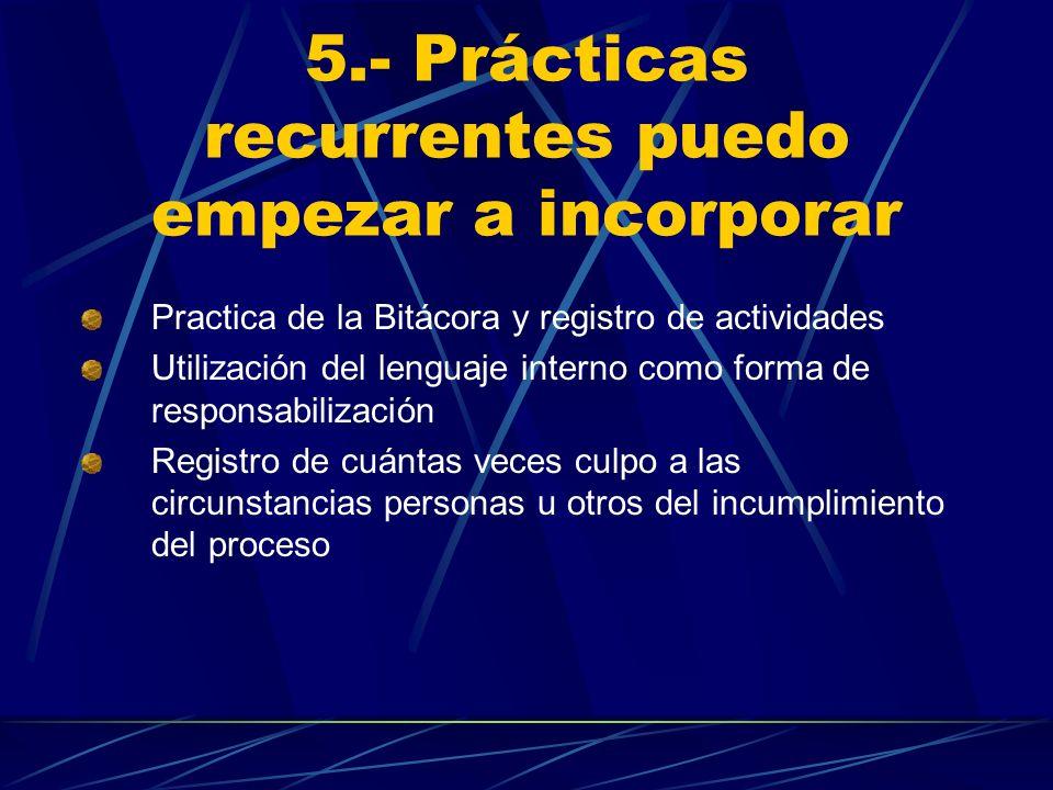 5.- Prácticas recurrentes puedo empezar a incorporar Practica de la Bitácora y registro de actividades Utilización del lenguaje interno como forma de