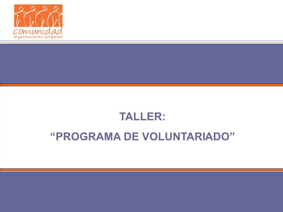 TALLER: PROGRAMA DE VOLUNTARIADO